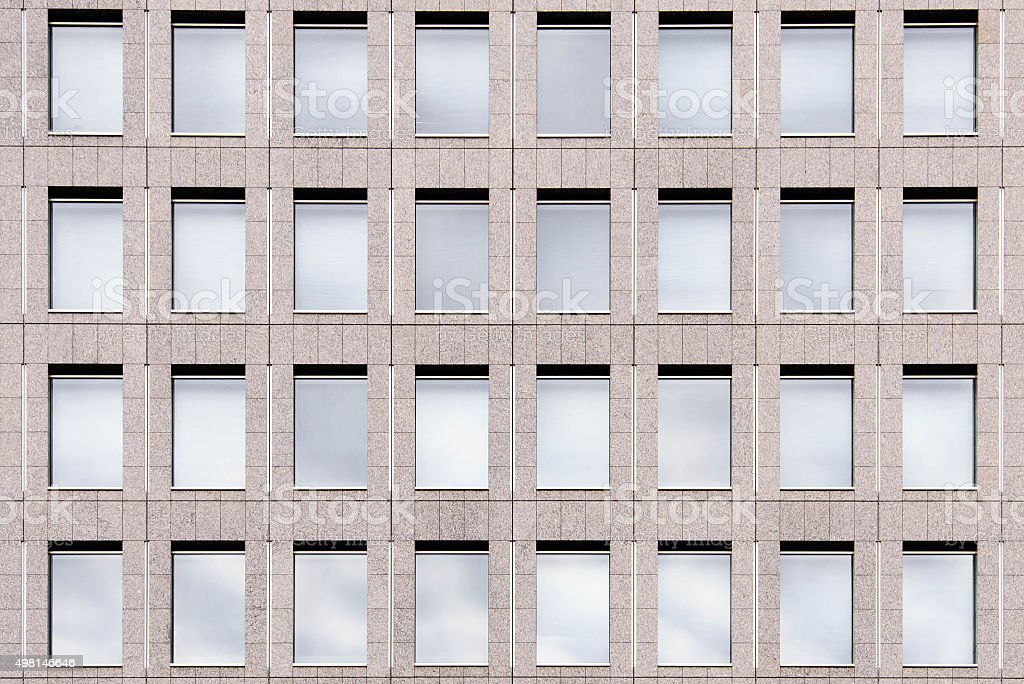 Exterior Glass Windows of a Modern Office Building stock photo