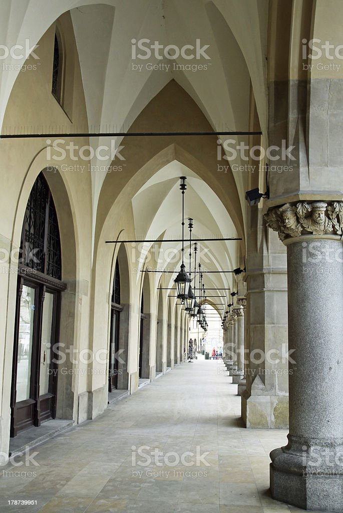 exterior gothic styled arcades of Cloth Hall in Krakow royalty-free stock photo