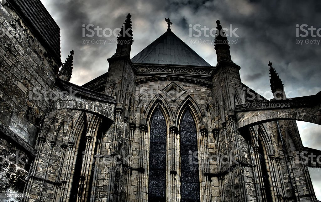 Exterior HDR image of Lincoln Cathedral Chapter House, England royalty-free stock photo