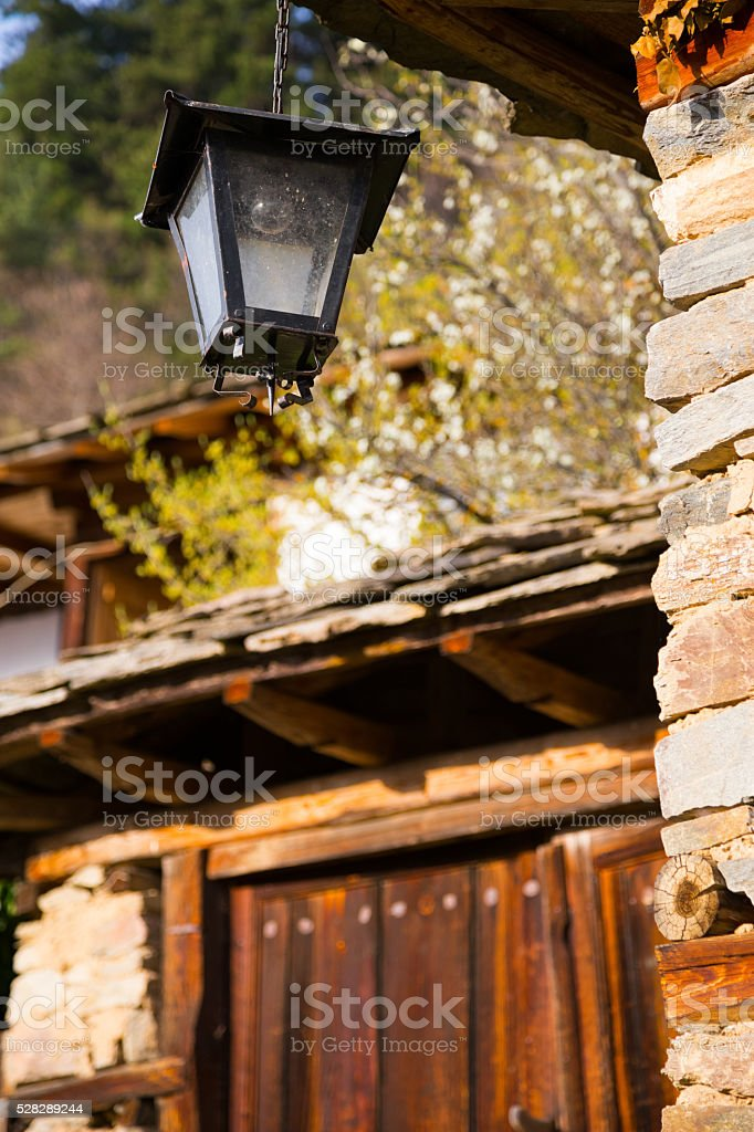 Exterior lantern light fitting on a rural house stock photo
