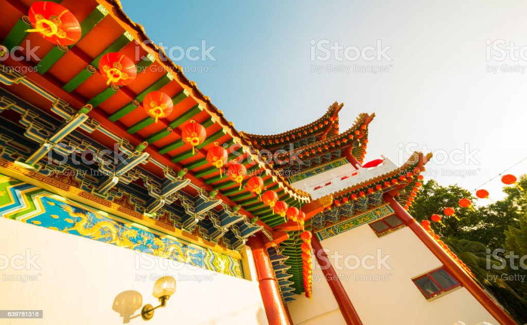 Exterior of a Chinese Temple stock photo