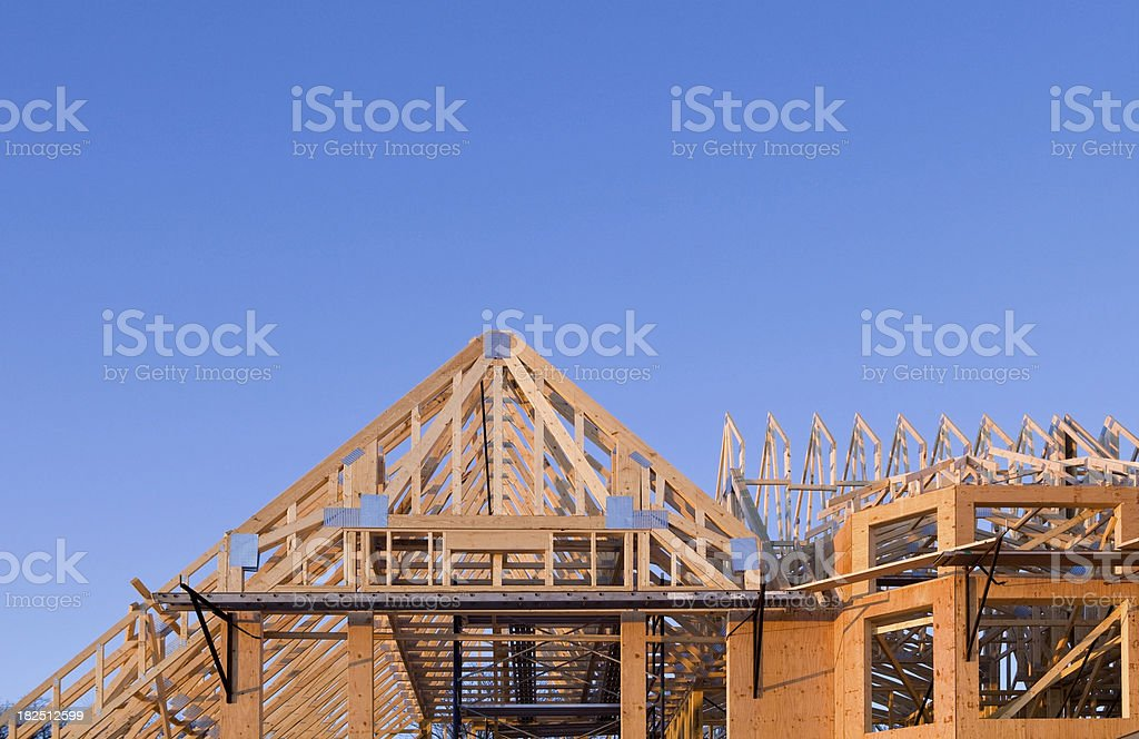 Exterior of a Large Home Construction Project stock photo