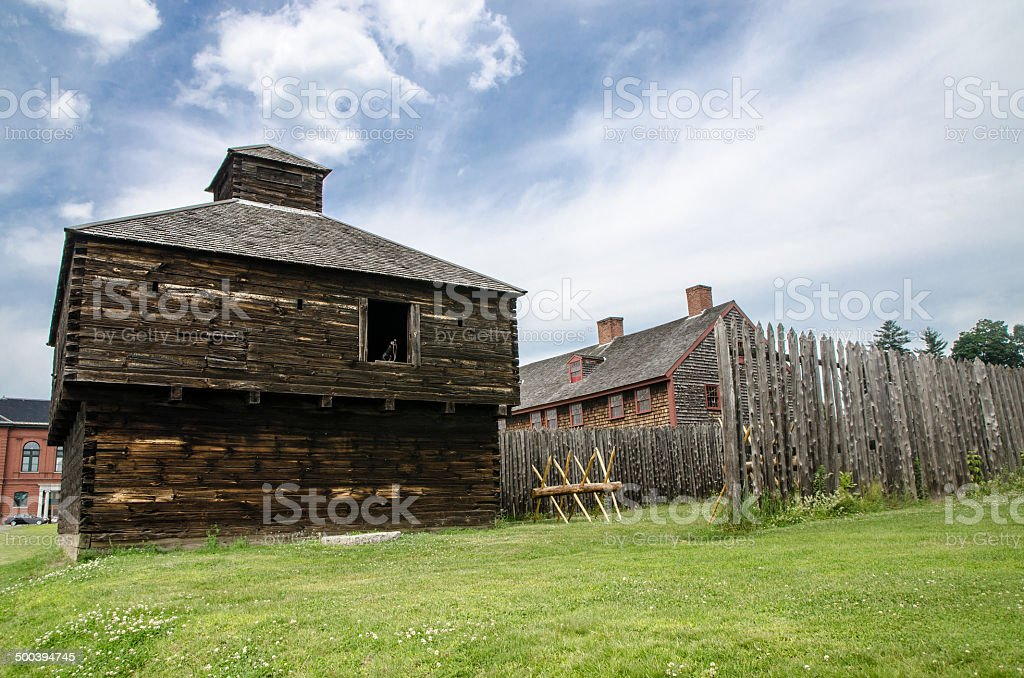 Exterior of a wooden fort stock photo