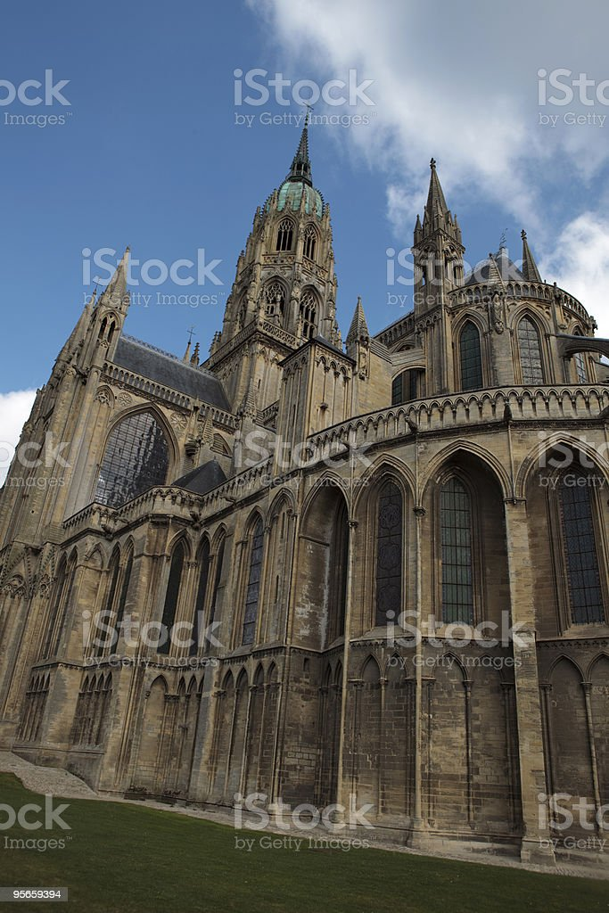 exterior of Bayeux' Notre Dame Cathedral stock photo