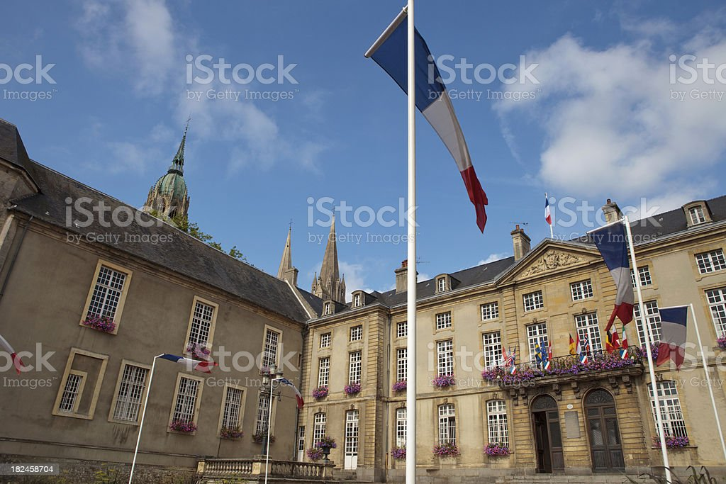exterior of Bayeux' Town Hall stock photo