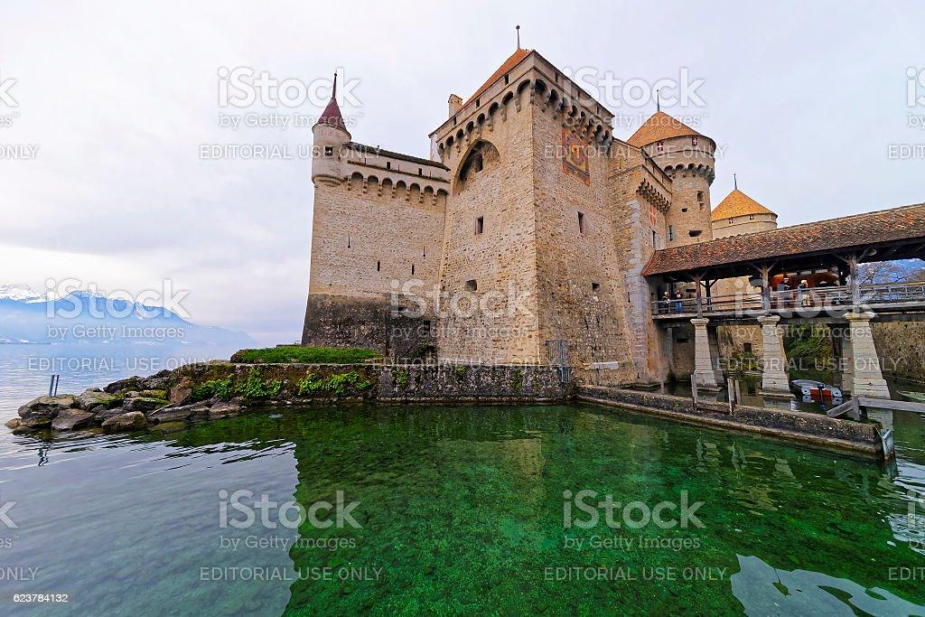 Exterior of Chillon Castle on Lake Geneva in Switzerland stock photo