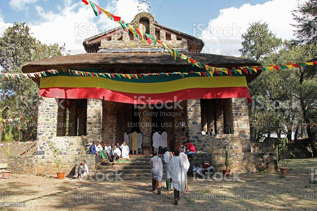 Exterior of Church of Debre Burham Selassie stock photo
