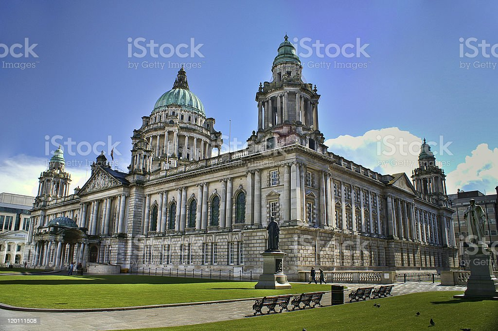 Exterior of City Hall building in Belfast, Northern Ireland stock photo