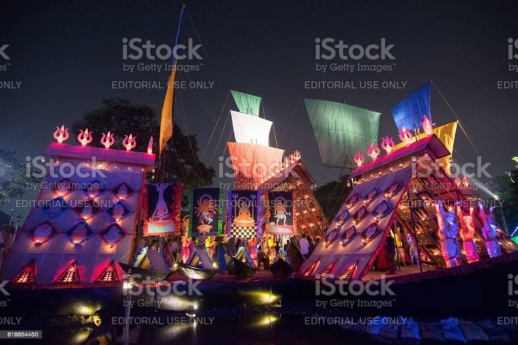 Exterior of decorated Durga Puja pandal, Kolkata, West Bengal, India. stock photo