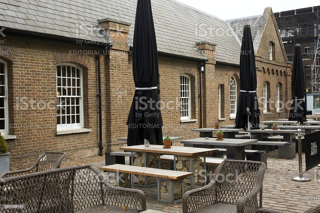 Exterior of Dial Arch historic pub in London stock photo