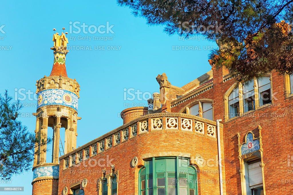 Exterior of former Hospital de Sant Pau in Barcelona stock photo