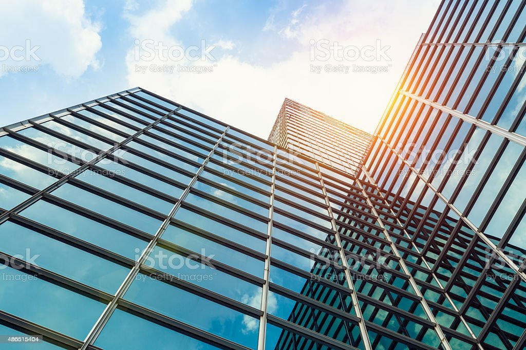 exterior of glass office building stock photo