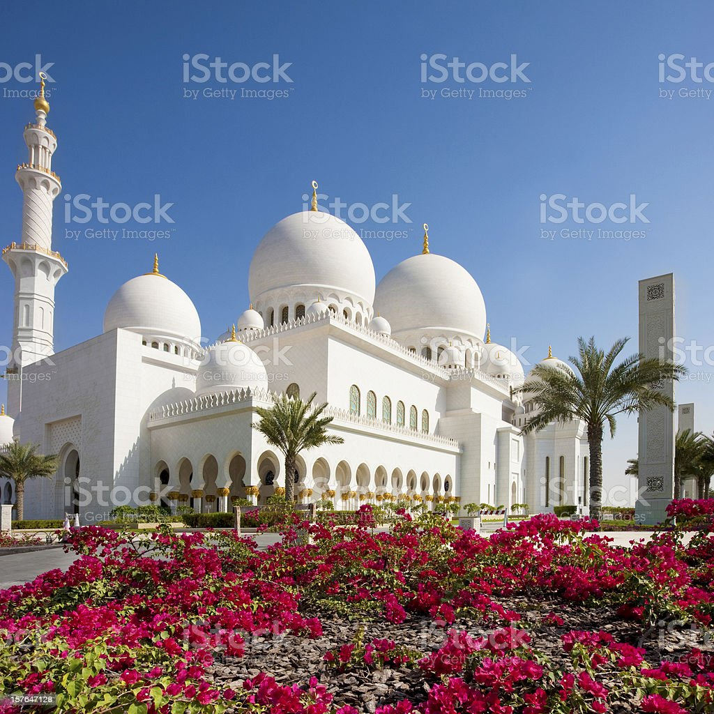 Exterior of Grand Mosque in Abu Dhabi stock photo