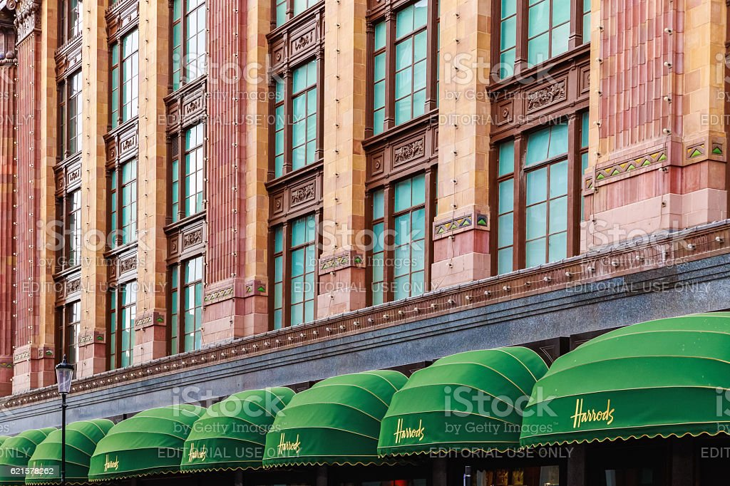 Exterior of Harrods in London stock photo