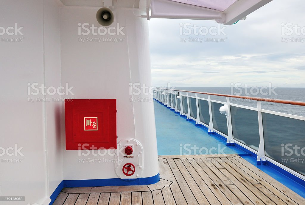 Exterior of luxury cruise ship with fire hose reel stock photo