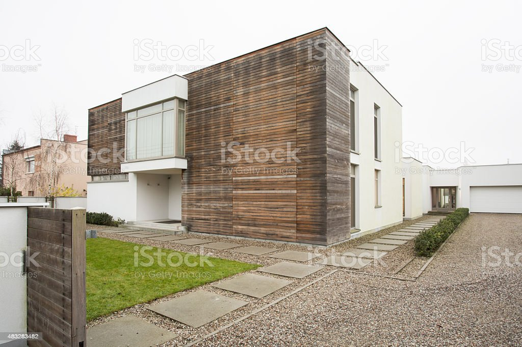 Exterior of luxury detached house stock photo