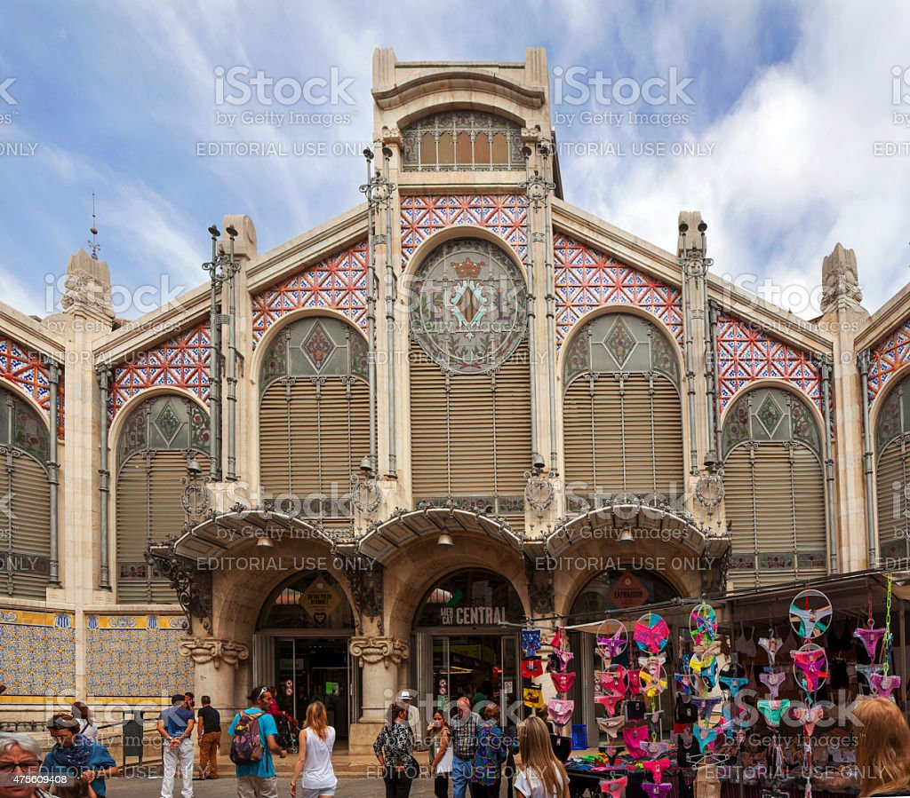 Exterior of Mercado Cemtral in Valencia stock photo