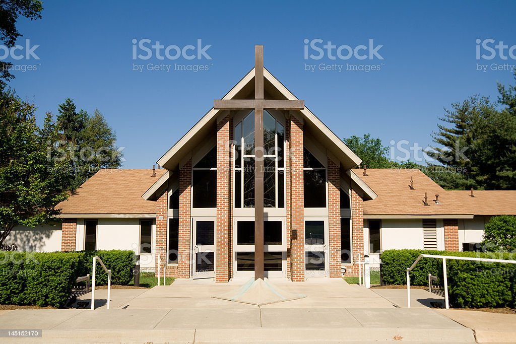 Exterior of Modern Church with Large Cross stock photo