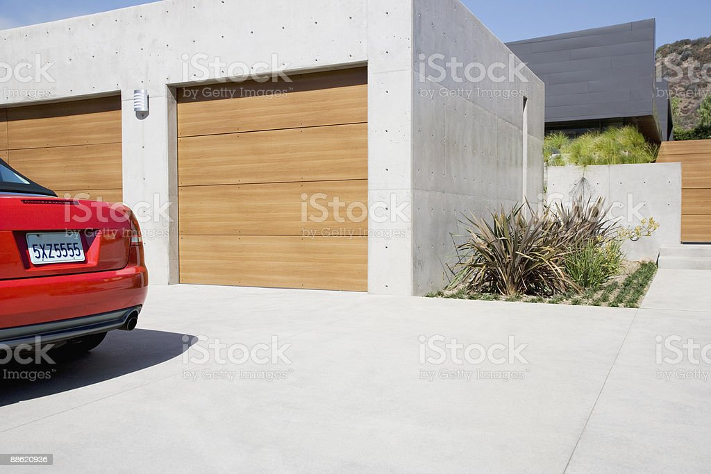 Exterior of modern two-car garage stock photo