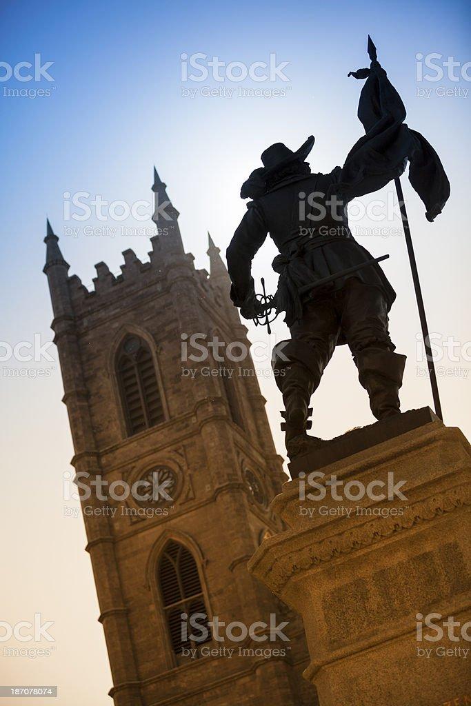 Exterior of Notre Dame Basilica, Montreal, Quebec, Canada stock photo