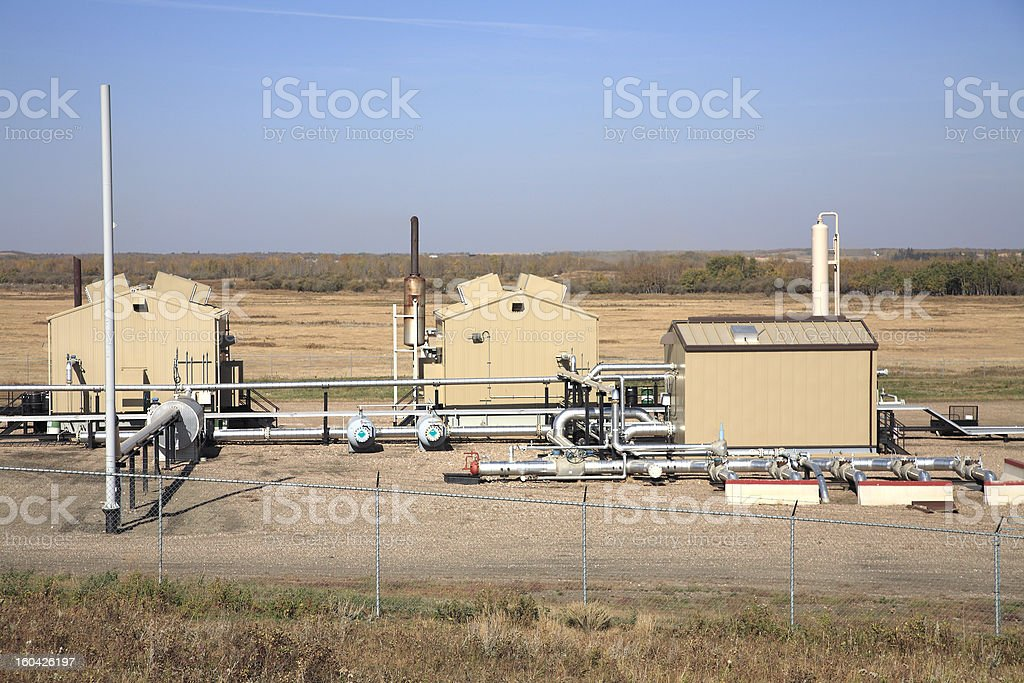 Exterior Of Oil And Gas Industry Compressosr Station stock photo