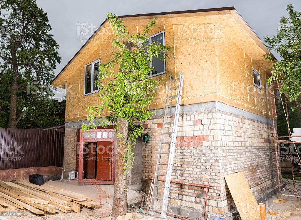 Exterior of Partially Finished New Home stock photo