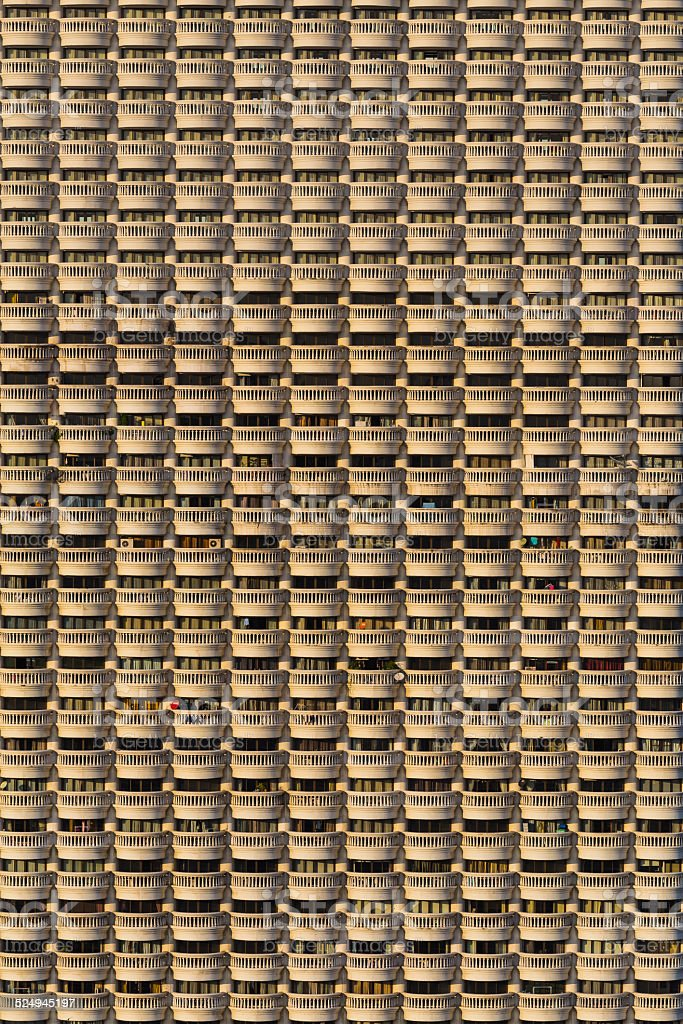 Exterior of residential buildings balconies pattern stock photo