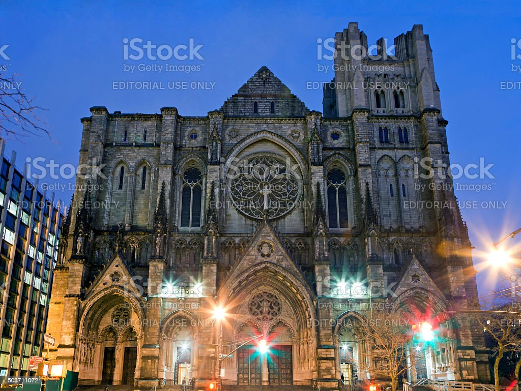 Exterior of Saint John Divine Church in NYC stock photo