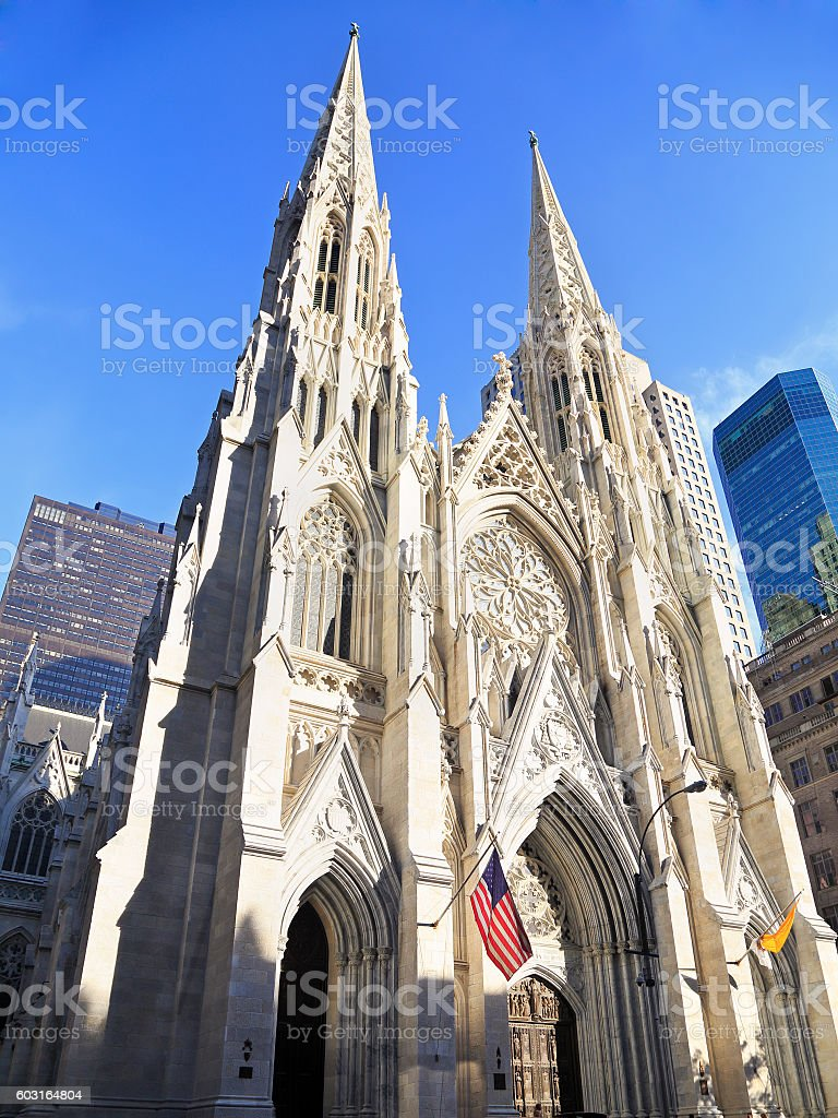 Exterior of St. Patrick's Cathedral in New York, New York stock photo