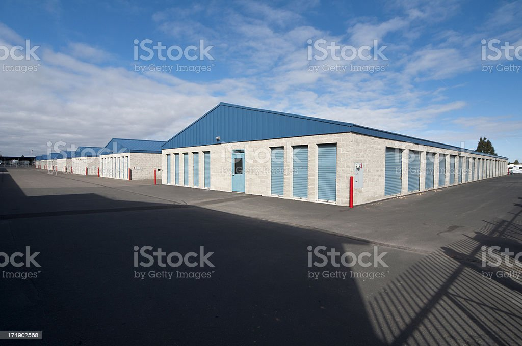 Exterior of storage units stock photo