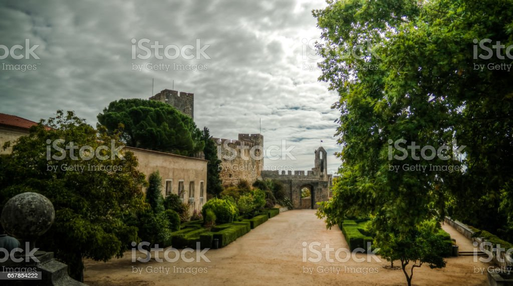 Exterior of Templar church of the Convent of the Order of Christ, Tomar, Portugal stock photo