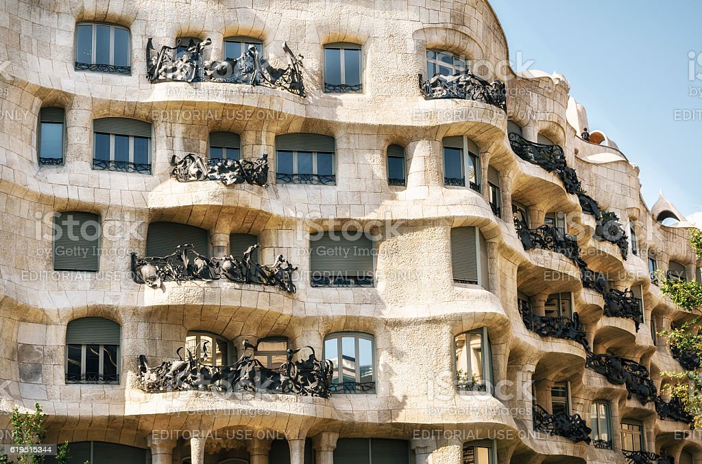 Exterior of the Casa Mila La Pedrera , Barcelona, Spain. stock photo