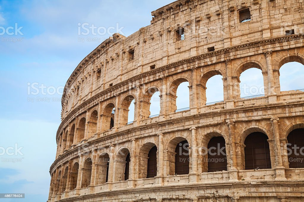 Exterior of the Colosseum or Coliseum in Rome stock photo