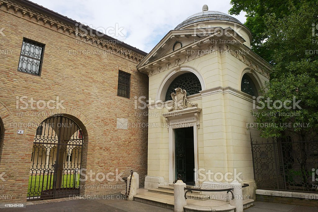 Exterior of the Dante's Tomb in Ravenna, Italy. stock photo