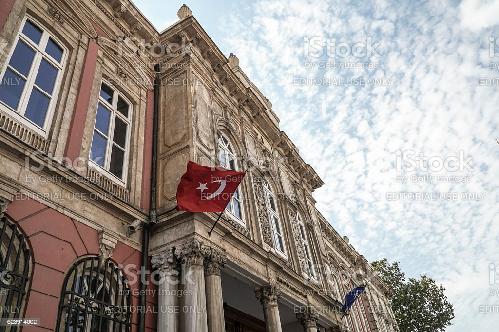 Exterior of the Grand Post Office in Istanbul Turkey. stock photo
