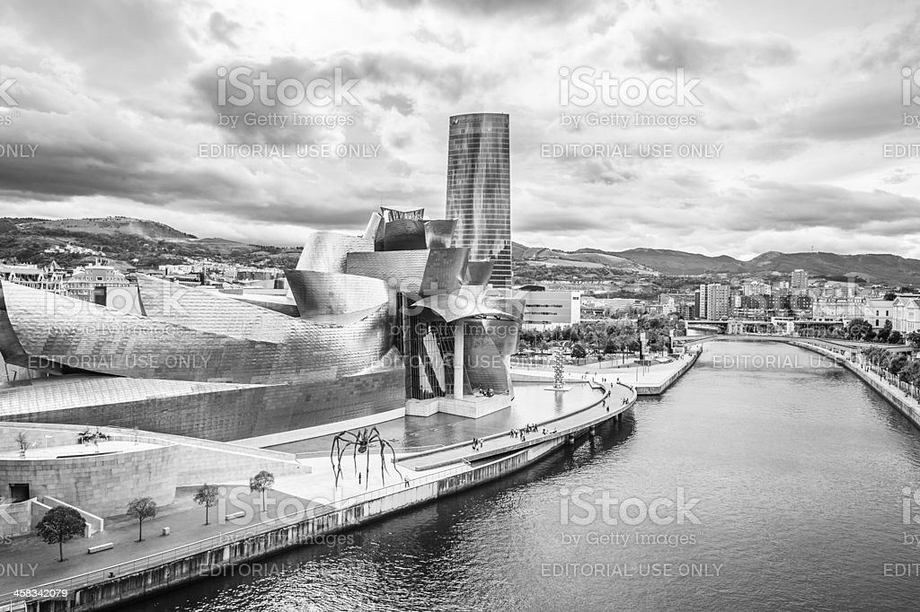 Exterior of The Guggenheim Museum and Iberdrola Tower royalty-free stock photo