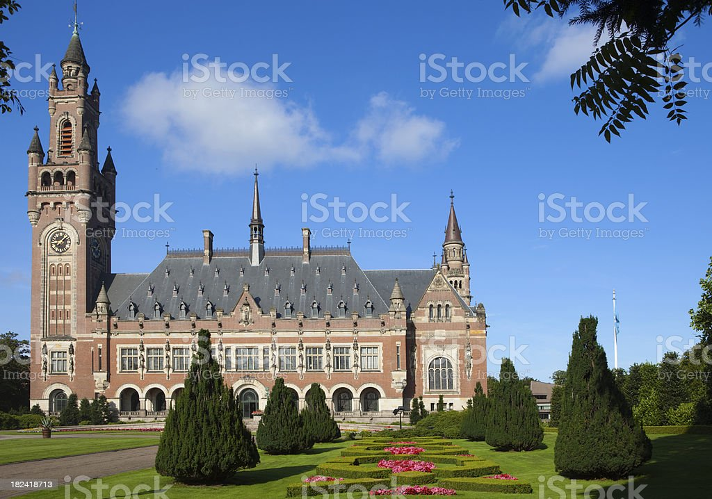 exterior of The Hague's Peace Palace royalty-free stock photo