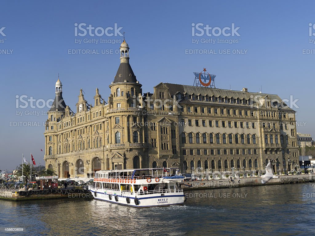Exterior of The Haydarpasa Terminal and ferryboat stock photo