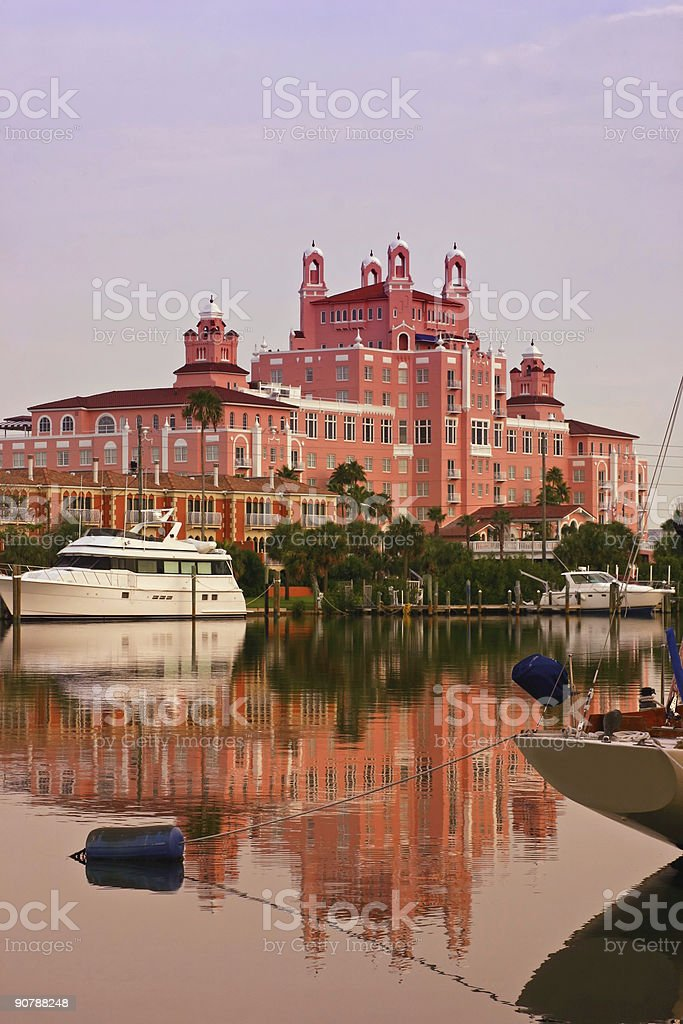 Exterior of the majestic Pink Lady wth yachts in water royalty-free stock photo