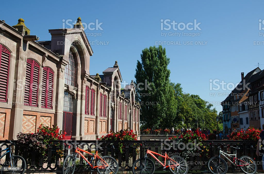 Exterior of the market hall in Colmar in France stock photo
