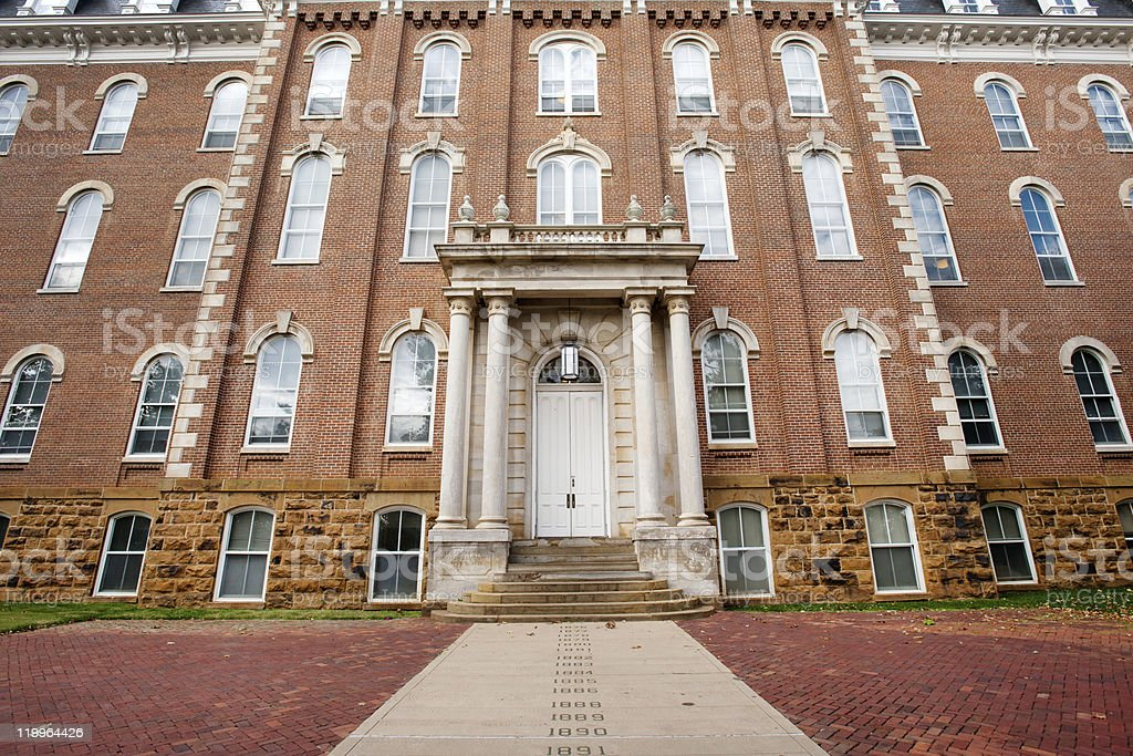 Exterior of The Old Man building with reddish brown bricks stock photo