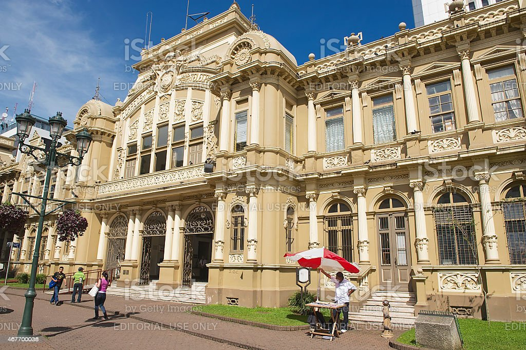 Exterior of the Post Office building, San Jose, Costa Rica. stock photo