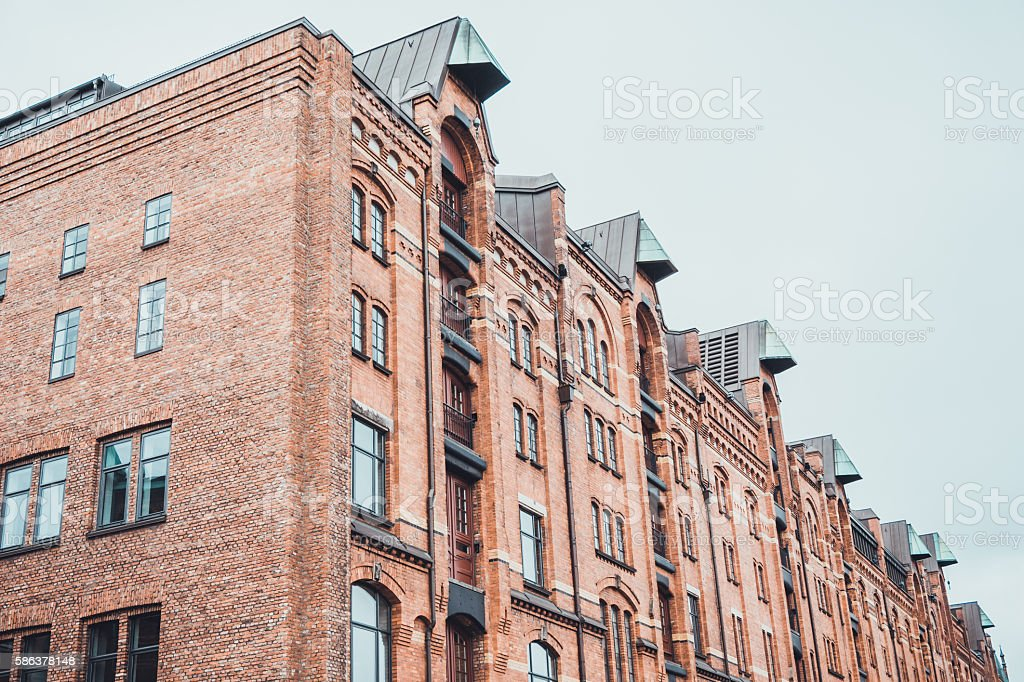 Exterior of the red brick warehouse, Speicherstadt stock photo