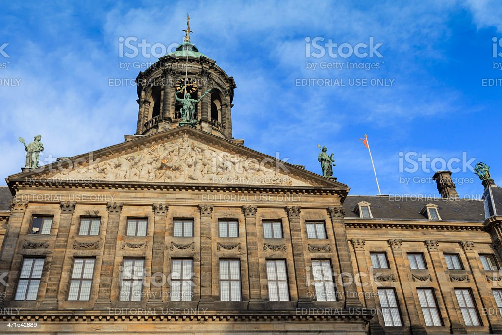 exterior of the Royal Palace in Amsterdam stock photo