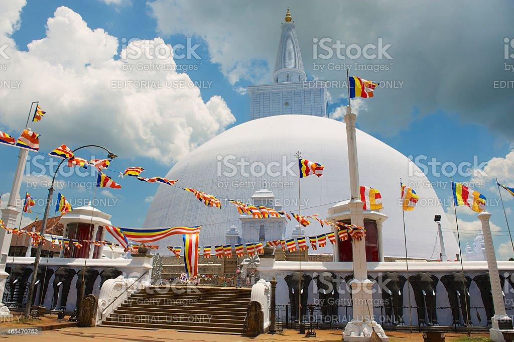 Exterior of the Ruwanwelisaya stupa in Anuradhapura, Sri Lanka. stock photo