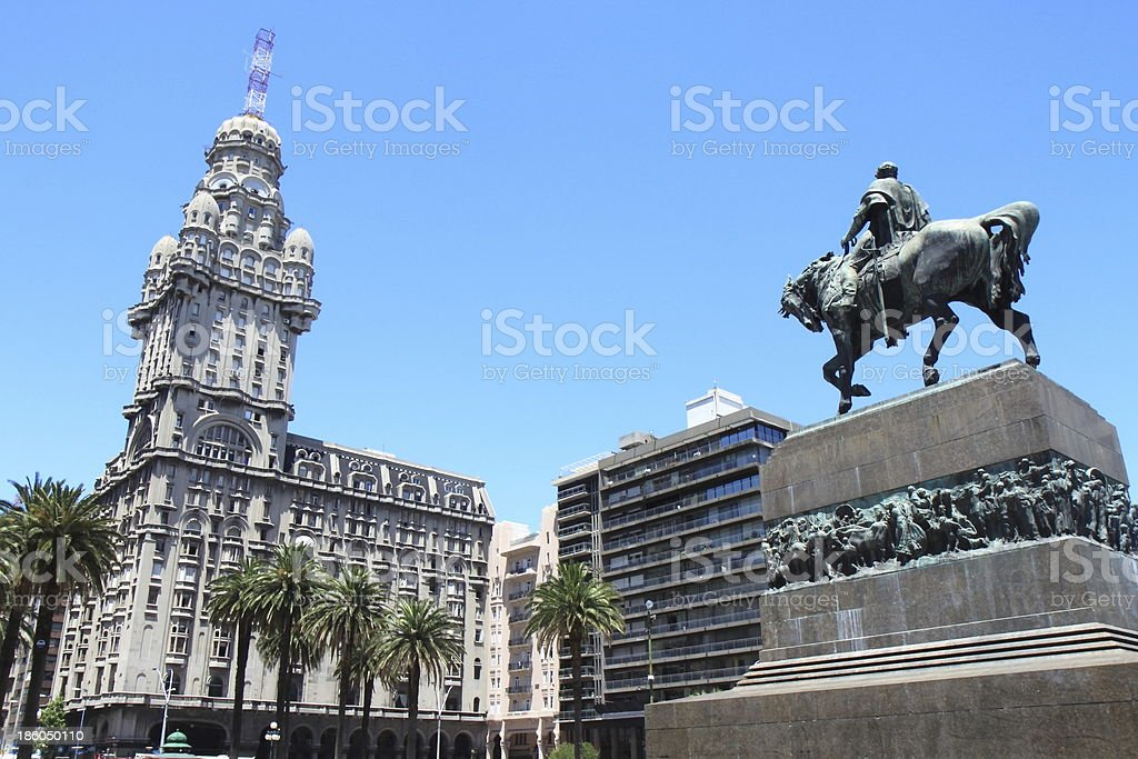 Exterior of the Salvo Palace and the Plaza da Independencia stock photo
