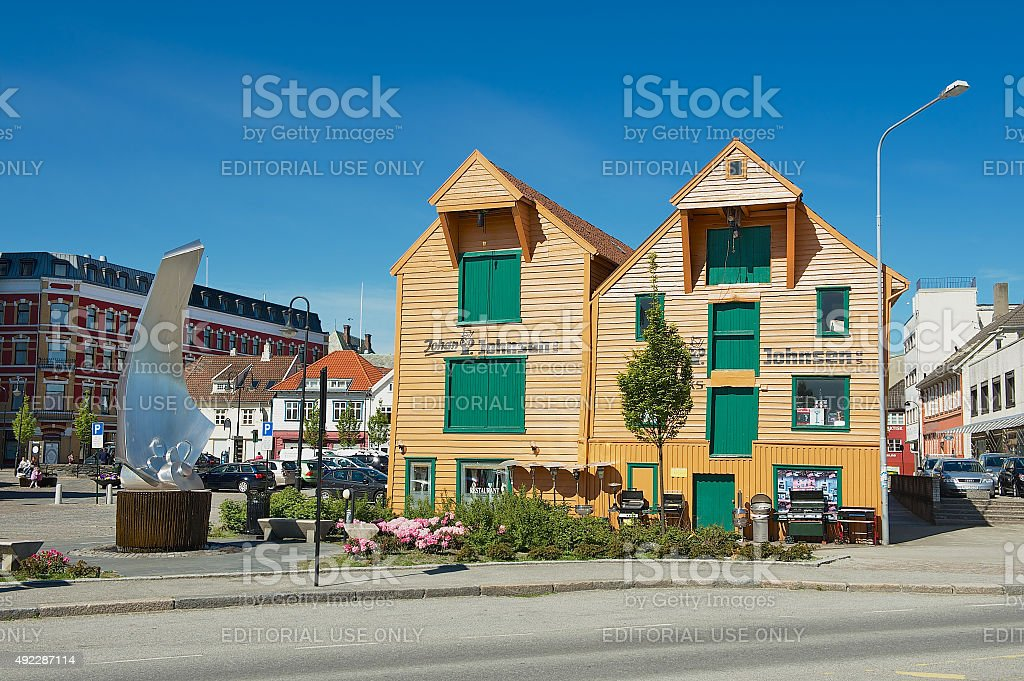 Exterior of the traditional wooden buildings in Stavanger, Norway. stock photo