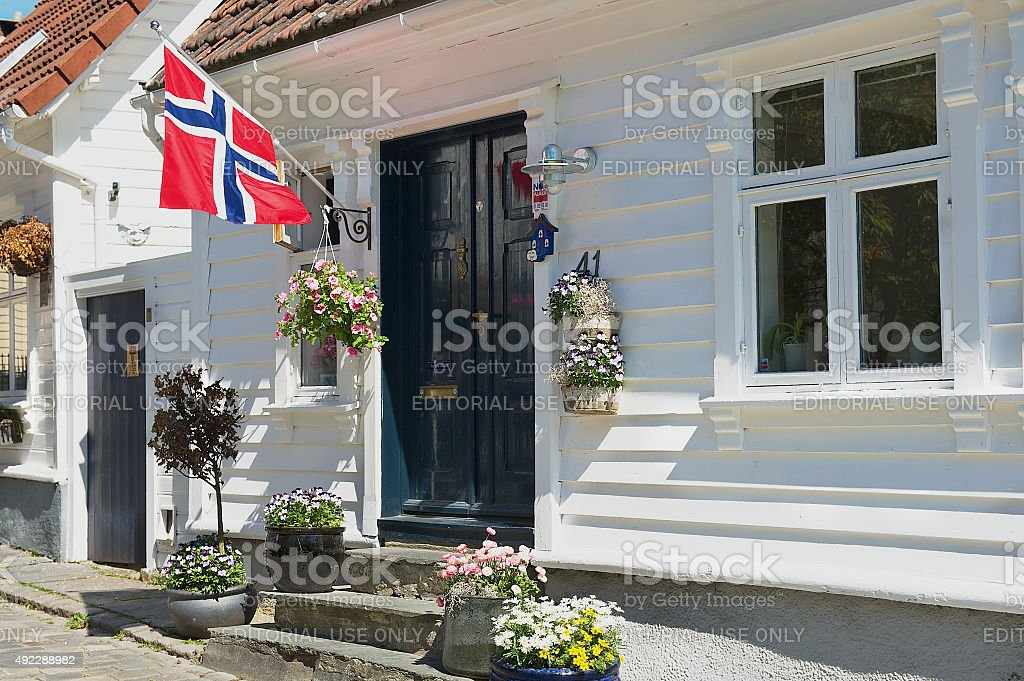 Exterior of the traditional wooden house in Stavanger, Norway. stock photo
