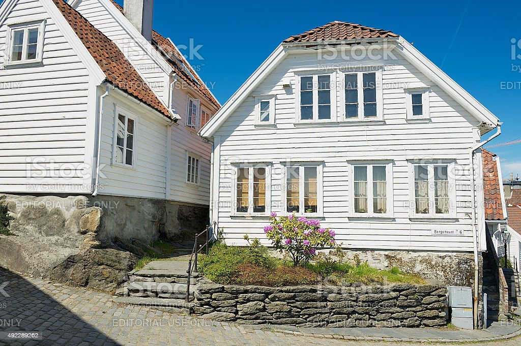 Exterior of the traditional wooden houses in Stavanger, Norway. stock photo