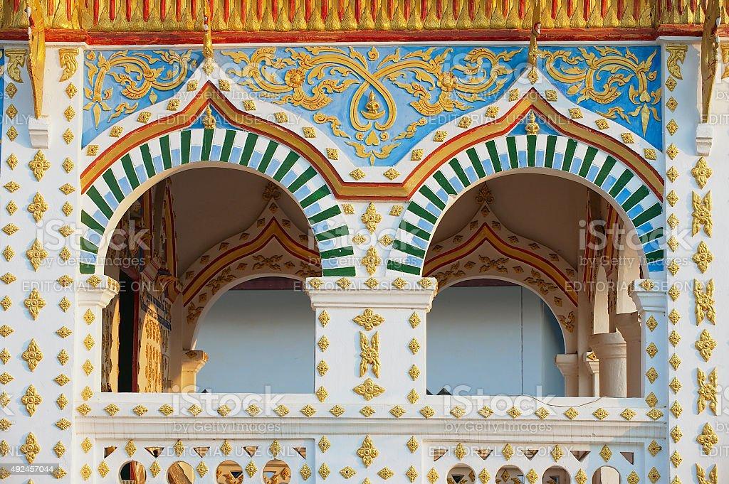 Exterior of the Wat Sri Khun Mueang, Chiang Khan, Thailand. stock photo